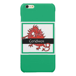 Cute Red Welsh Dragon on Green Background Glossy iPhone 6 Plus Case