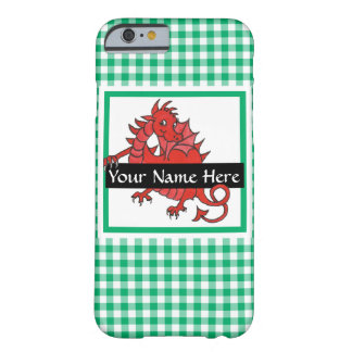 Cute Red Welsh Dragon on Green Check Gingham Barely There iPhone 6 Case