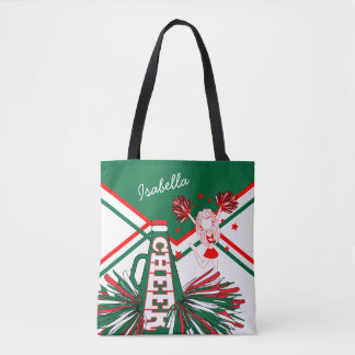 Cute Red, White and Green Cheerleader Design Tote Bag