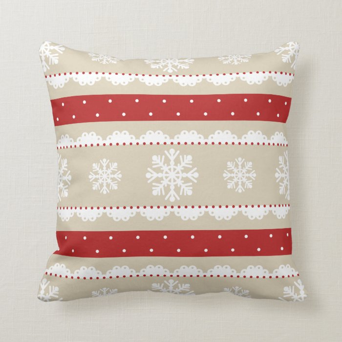 Cute Red White Beige Christmas Snowflakes Pattern Throw Pillow Zazzle
