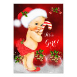 Cute Red White Christmas Baby Shower Girl Blonde Card