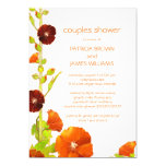 Cute Red + White Floral Couples Shower Invitations