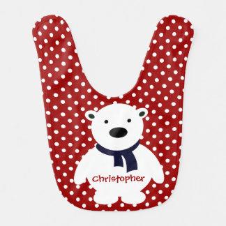 Cute Red/White Polka Dots, Polar Bear, Add name Bib