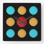 CUTE Red Yellow Blue Dots Square Wall Clock