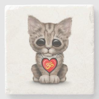 Cute Red Yoga Love Om Kitten on White Stone Coaster