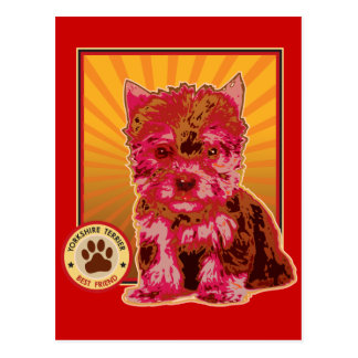 Cute Red Yorkie Puppy Dog - Yorkshire Terrier Postcard