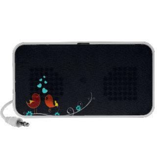 Cute reddish love birds and aqua hearts iPod speakers