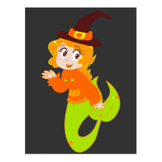 Cute Redhaired Witch Mermaid Postcard