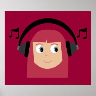 Cute Redhead Girl Dee Jay Customizable Poster