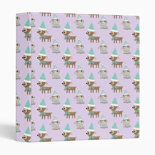 Cute Reindeer and Bunnies Holiday Art Pattern Binder