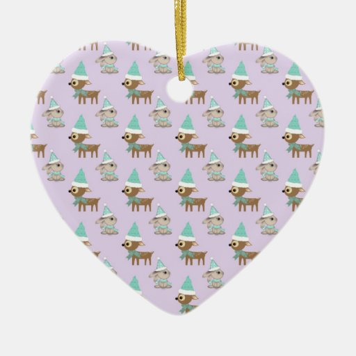 Cute Reindeer and Bunnies Holiday Art Pattern Double-Sided Heart Ceramic Christmas Ornament