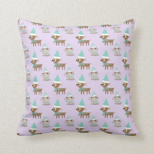 Cute Reindeer and Bunnies Holiday Art Pattern Throw Pillows