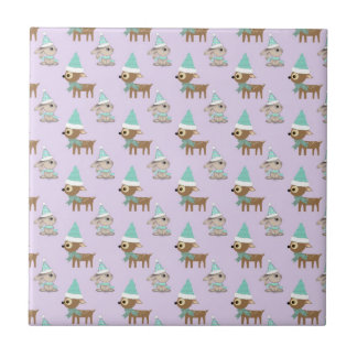Cute Reindeer and Bunnies Holiday Art Pattern Tile