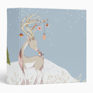 Cute Reindeer and Robin in the Snow 3 Ring Binder