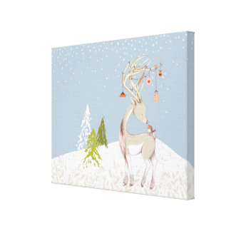 Cute Reindeer and Robin in the Snow Canvas Print