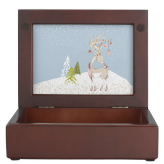 Cute Reindeer and Robin in the Snow Memory Box