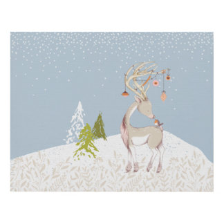 Cute Reindeer and Robin in the Snow Panel Wall Art