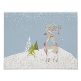 Cute Reindeer and Robin in the Snow Poster