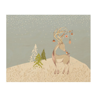 Cute Reindeer and Robin in the Snow Wood Print