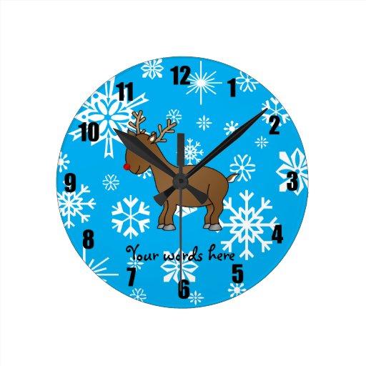 Cute reindeer blue and white snowflakes round wallclocks