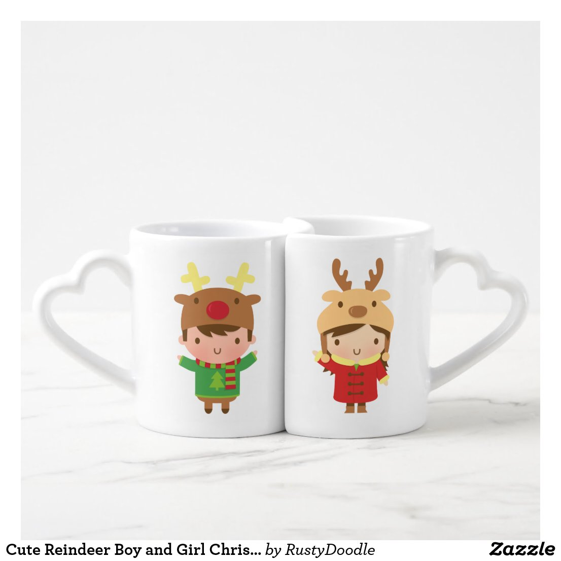 Cute Reindeer Boy and Girl Christmas Coffee Mug Set