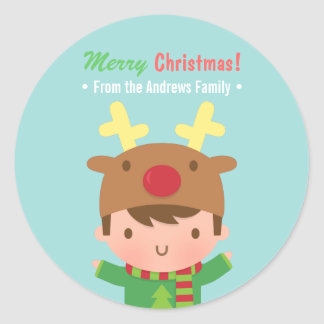 Cute Reindeer Boy Christmas Decor Stickers