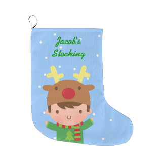 Cute Reindeer Boy Christmas For Kids Large Christmas Stocking