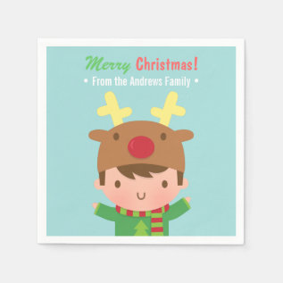 Cute Reindeer Boy Christmas Party Supplies Paper Napkin at Zazzle