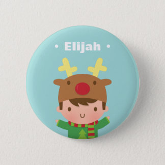 Cute Reindeer Boy Kids Christmas Fillers Pinback Button