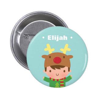 Cute Reindeer Boy Kids Christmas Fillers Pinback Button