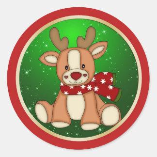 Cute reindeer Christmas Classic Round Sticker