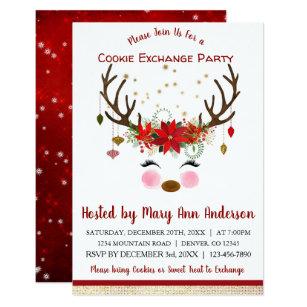Christmas Cookie Party Invite.Cute Reindeer Christmas Cookie Exchange Party Invitation