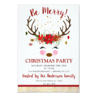Cute Reindeer Christmas Holiday Dinner Party Invitation