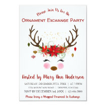 Cute Reindeer Christmas Ornament Exchange Party Invitation