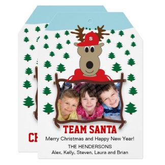 Cute Reindeer Christmas Photo Flat Card
