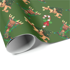 Cute Reindeer Christmas Wrapping Paper