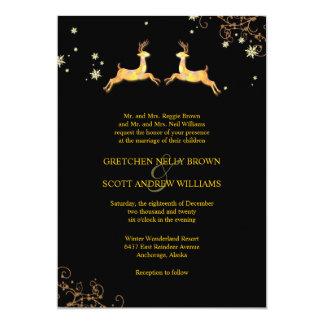 Cute Reindeer Couple Winter Wedding Card