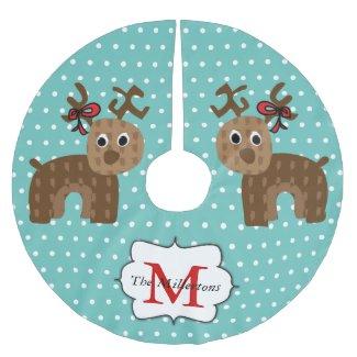Cute Reindeer Family Monogram Christmas Tree Skirt