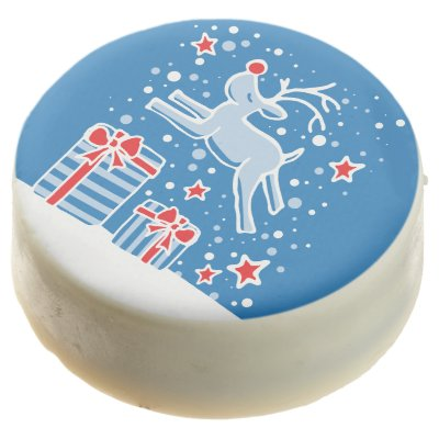Cute reindeer graphic art Christmas holiday oreos Chocolate Covered Oreo