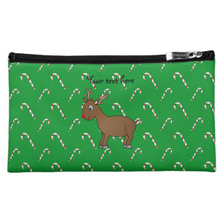 Cute reindeer green candy canes cosmetic bags