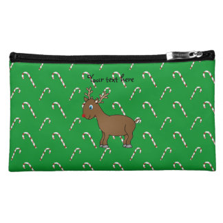 Cute reindeer green candy canes cosmetics bags
