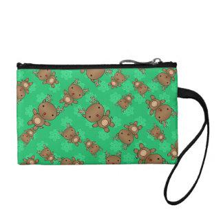Cute reindeer green snowflakes coin wallets