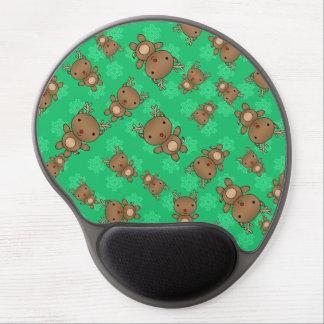 Cute reindeer green snowflakes gel mouse pads