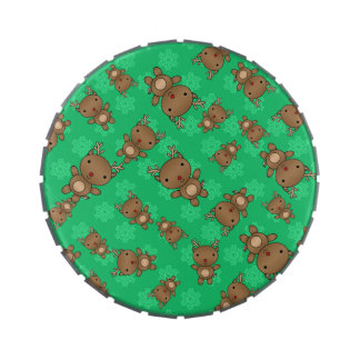 Cute reindeer green snowflakes jelly belly candy tin