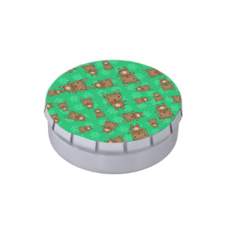 Cute reindeer green snowflakes jelly belly candy tins