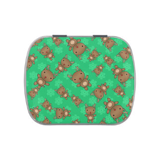 Cute reindeer green snowflakes jelly belly tin