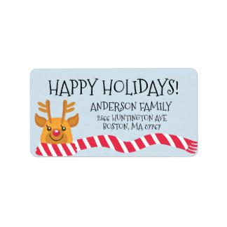 Cute Reindeer Happy Holidays Address Label