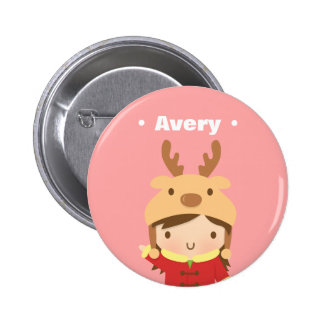 Cute Reindeer Hat Girl Kids Christmas Fillers 2 Inch Round Button