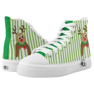 Cute Reindeer High-Top Sneakers