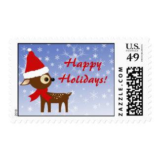 Cute Reindeer Holiday Christmas Postage Stamps